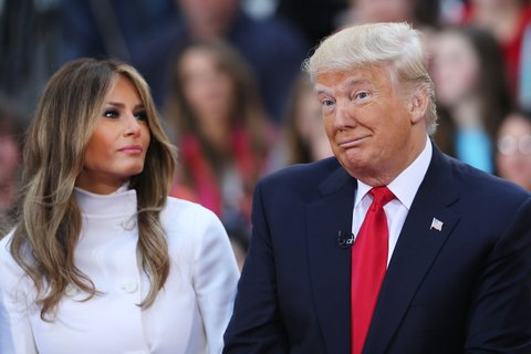 NEW YORK, NY - APRIL 21:  Republican presidential candidate Donald Trump sits with his wife Melania Trump while appearing at an NBC Town Hall at the Today Show on April 21, 2016 in New York City.  The GOP front runner appeared with his wife and family and took questions from audience members.  (Photo by Spencer Platt/Getty Images)
