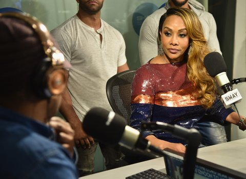 NEW YORK, NY - JANUARY 05:  Sway (L) interviews actress/TV personality Vivica A. Fox during Sway in the Morning on Shade 45 at SiriusXM Studios on January 5, 2017 in New York City.  (Photo by Michael Loccisano/Getty Images)