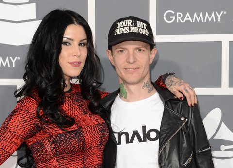 LOS ANGELES, CA - FEBRUARY 10:  Tattoo artist Kat Von D (L) and DJ Deadmau5 arrive at the 55th Annual GRAMMY Awards at Staples Center on February 10, 2013 in Los Angeles, California.  (Photo by Jason Merritt/Getty Images)
