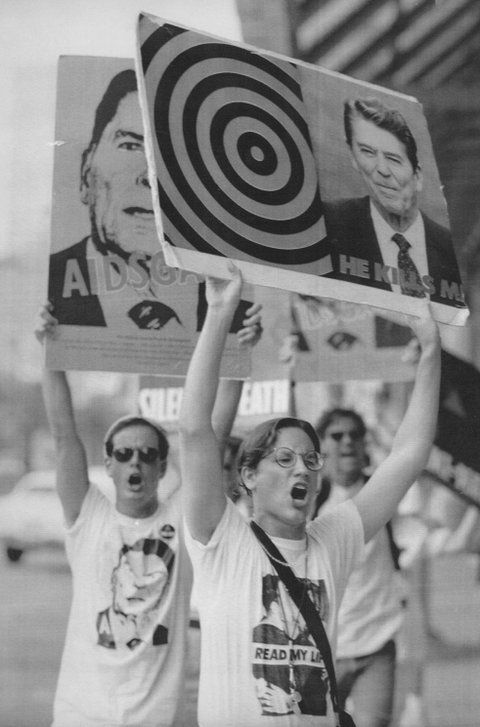 AUG 14 1988, AUG 15 1988; Members of Act Up, the AIDS Coalition to Unleash Power demonstrate outside the New Orleans convention center Sunday afternoon. The Group later tried to disrupt president Reagan's speech and some members were detained by police.;  (Photo By Jerry Cleveland/The Denver Post via Getty Images)