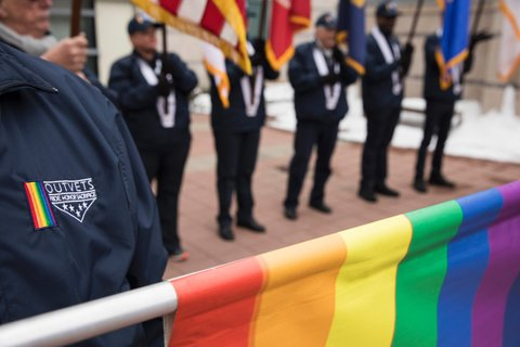 Marchers representing OutVets, a group for LGBTQ veterans, prepares to march in the annual St. Patrick's Day parade in South Boston, Massachusetts, on March 19, 2017.  The group was briefly the subject of controversy when it appeared they were going to be excluded from marching. / AFP PHOTO / DOMINICK REUTER        (Photo credit should read DOMINICK REUTER/AFP/Getty Images)