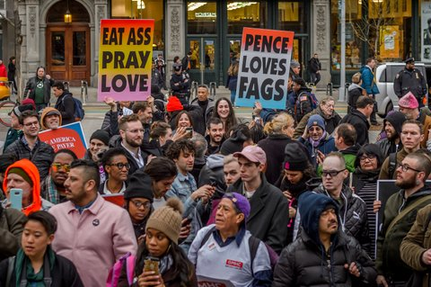 NEW YORK CITY AIDS MEMORIAL, NEW YORK, UNITED STATES - 2017/03/30: Hundreds gathered on a rally at the AIDS Memorial on West 12th Street, New York City to celebrate ACT UP 30th Anniversary, followed by a march around the West Village to the open plaza in Union Square at East 17th Street. (Photo by Erik McGregor/Pacific Press/LightRocket via Getty Images)