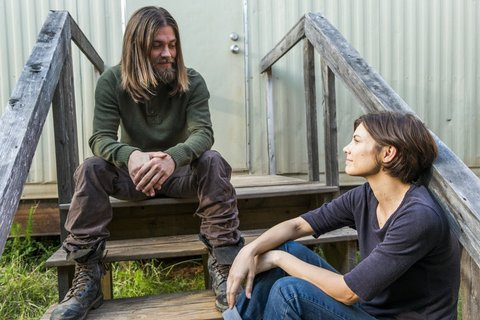 Lauren Cohan as Maggie Greene, Tom Payne as Paul 'Jesus' Rovia - The Walking Dead _ Season 7, Episode 14 - Photo Credit: Gene Page/AMC