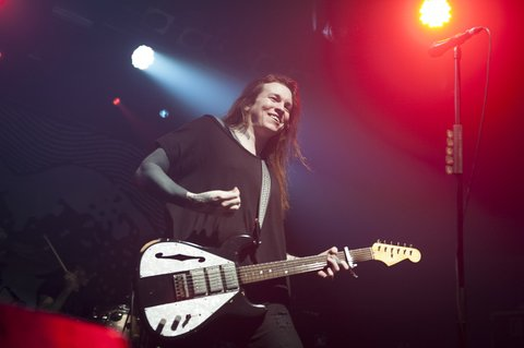 LONDON, ENGLAND - DECEMBER 08:  Laura Jane Grace of Against Me! performs at Electric Ballroom on December 8, 2016 in London, England.  (Photo by Imelda Michalczyk/Redferns)