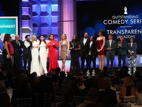 BEVERLY HILLS, CA - APRIL 01: Cast and crew of 'Transparent' accepts the Oustanding Comedy Series award onstage during the 28th Annual GLAAD Media Awards in LA at The Beverly Hilton Hotel on April 1, 2017 in Beverly Hills, California.  (Photo by Todd Williamson/Getty Images for GLAAD)