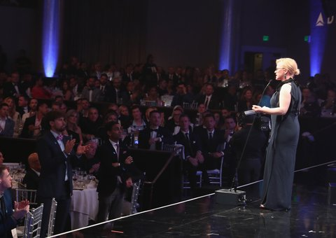 BEVERLY HILLS, CA - APRIL 01:  Honoree Patricia Arquette accepts the Vanguard Award onstage during the 28th Annual GLAAD Media Awards in LA at The Beverly Hilton Hotel on April 1, 2017 in Beverly Hills, California.  (Photo by Todd Williamson/Getty Images for GLAAD)