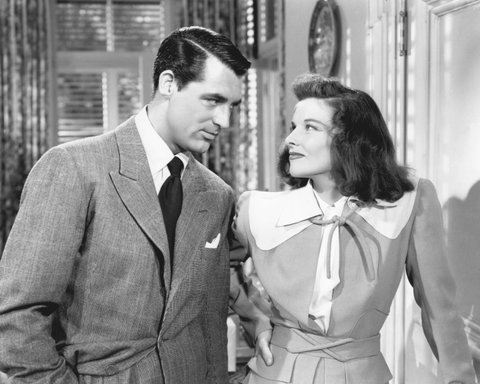 American actors Katharine Hepburn (1907 - 2003) and Cary Grant (1904 - 1986) star in the film 'The Philadelphia Story', 1940. (Photo by Silver Screen Collection/Archive Photos/Getty Images)