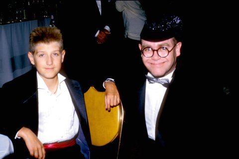 Ryan White and Elton John during Lester Cohen Archives in Los Angeles, California, United States. (Photo by L. Cohen/WireImage)