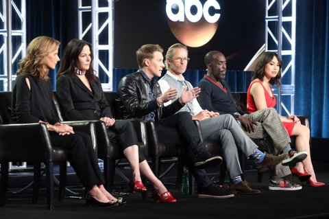 PASADENA, CA - JANUARY 10:  (L-R) Actors Rachel Griffiths and Mary-Louise Parker, Creator/Executive Producer Dustin Lance Black, and actors Guy Pearce, Michael K. Williams, and Ivory Aquino of the television show 'When We Rise' speak onstage during the Disney-ABC portion of the 2017 Winter Television Critics Association Press Tour at Langham Hotel on January 10, 2017 in Pasadena, California.  (Photo by Frederick M. Brown/Getty Images)