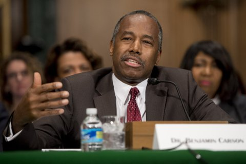 Ben Carson testifies during his confirmation hearing for Secretary of Housing and Urban Development(HUD) before the Senate Banking, Housing and Urban Affairs Committee on Capitol Hill in Washington, DC, January 12, 2017. / AFP / SAUL LOEB        (Photo credit should read SAUL LOEB/AFP/Getty Images)