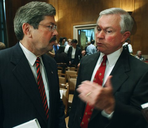 UNITED STATES - JULY 09:  SPECIAL EDUCATION HEARING--Sen. Jeff Sessions, R-Ala., right, talks with Commission on Excellence in Special Education Chairman Terry Branstad after the Senate Health, Education, Labor and Pensions Committee hearing.  (Photo by Scott J. Ferrell/Congressional Quarterly/Getty Images)