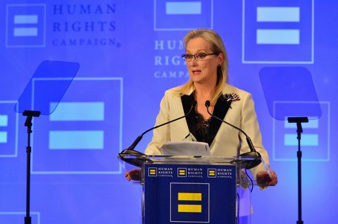 NEW YORK, NY - FEBRUARY 11:  Honoree Meryl Streep speaks onstage during the 2017 Human Rights Campaign Greater New York Gala at Waldorf Astoria Hotel on February 11, 2017 in New York City.  (Photo by Roy Rochlin/Getty Images)