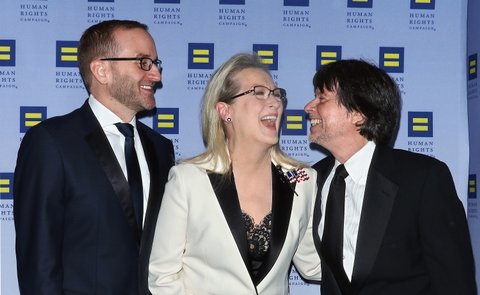NEW YORK, NY - FEBRUARY 11:  Chad Griffin, atress Meryl Streep and filmmaker Ken Burns attend the 2017 Human Rights Campaign Greater New York Gala at The Waldorf Astoria on February 11, 2017 in New York City.  (Photo by Jim Spellman/WireImage)
