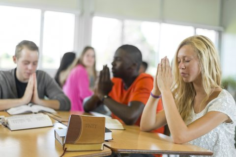 Diverse high school students during Bible study