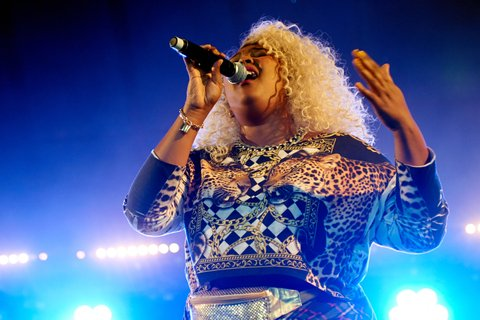 LEEDS, UNITED KINGDOM - AUGUST 23: Lizzo performs on stage at Leeds Festival at Bramham Park on August 23, 2014 in Leeds, United Kingdom. (Photo by Gary Wolstenholme/Redferns via Getty Images)