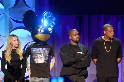 NEW YORK, NY - MARCH 30:  (L-R) Madonna, Deadmau5, Kanye West, and JAY Z onstage at the Tidal launch event #TIDALforALL at Skylight at Moynihan Station on March 30, 2015 in New York City.  (Photo by Jamie McCarthy/Getty Images for Roc Nation)