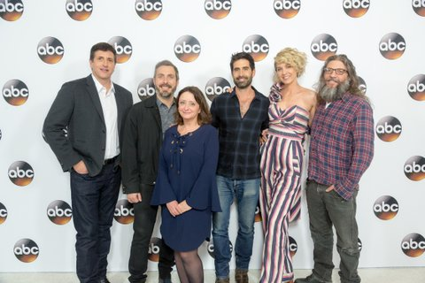 PASADENA, CA - JANUARY 10:  (L-R) Actors Doug Robinson, Patrick Osborne, Rachel Dratch, Stephen Schneider, Jenna Elfman and David Guarascio arrive for the 2017 Winter TCA Tour for Disney/ABC at The Langham Hotel on January 10, 2017 in Pasadena, California.  (Photo by Greg Doherty/Getty Images)