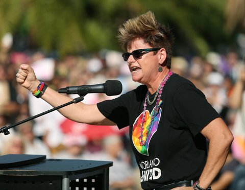 Orlando City Commissioner Patty Sheehan speaks during a Central Florida women's rally at Lake Eola Park in Orlando, Fla., on Saturday, Jan. 21, 2017. (Stephen M. Dowell/Orlando Sentinel/TNS via Getty Images)