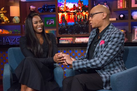 WATCH WHAT HAPPENS LIVE -- Pictured (l-r): Naomi Campbell and RuPaul -- (Photo by: Charles Sykes/Bravo/NBCU Photo Bank via Getty Images)