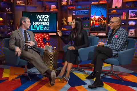 WATCH WHAT HAPPENS LIVE -- Pictured (l-r): Andy Cohen, Naomi Campbell and RuPaul -- (Photo by: Charles Sykes/Bravo/NBCU Photo Bank via Getty Images)