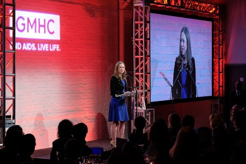 NEW YORK, NY - MARCH 23:  Chelsea Clinton accepts an award on behalf of her father, former US president Bill Clinton, during the GMHC 35th Anniversary Spring Gala at Highline Stages on March 23, 2017 in New York City.  (Photo by D Dipasupil/FilmMagic)