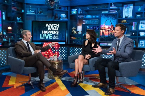 WATCH WHAT HAPPENS LIVE WITH ANDY COHEN -- Pictured (l-r): Andy Cohen, Bethenny Frankel and Jeff Lewis -- (Photo by: Charles Sykes/Bravo/NBCU Photo Bank via Getty Images)