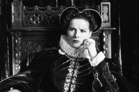 Katharine Hepburn sitting in throne in a scene from the film 'Mary Of Scotland', 1936. (Photo by RKO Radio Pictures/Getty Images)