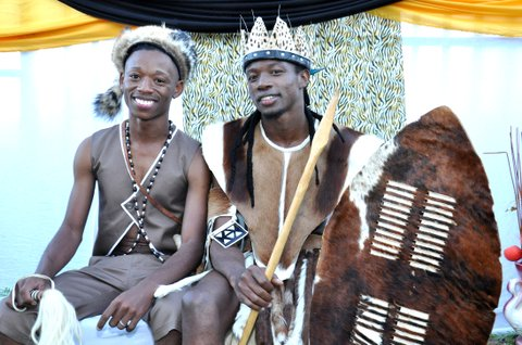 JOHANNESBURG, SOUTH AFRICA - APRIL 6: (SOUTH AFRICA OUT) Tshepo Modisane and Thobajobe Sithole pose together on April 6, 2013 at Siva Sungum Hall in Kwadukuza, South Africa. Modisane and Sithole made history as this was the first-ever traditional gay wedding in African Culture. (Photo by Alex Nkosi/Daily Sun/Gallo Images/Getty Images)