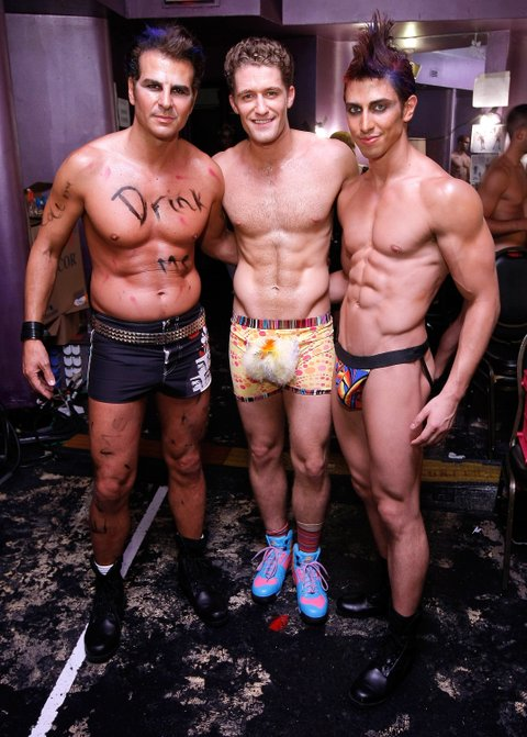 NEW YORK - JUNE 22:  Actors Vincent DePaul, Matthew Morrison and Nick Adams backstage at Broadway Bares 18: Wonderland on June 22, 2008 at the Roseland Ballroom in New York.  (Photo by Jemal Countess/WireImage)