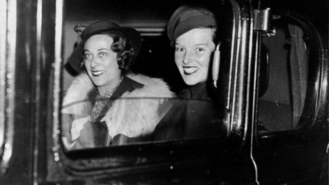 Katharine Hepburn (right) and Mrs. Catherine Harding Taylor leaving Penn Station. (Photo by Bud Seelig/NY Daily News Archive via Getty Images)