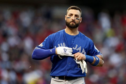CLEVELAND, OH - OCTOBER 15:  Kevin Pillar #11 of the Toronto Blue Jays reacts after being struck out in the seventh inning against Andrew Miller #24 of the Cleveland Indians  during game two of the American League Championship Series at Progressive Field on October 15, 2016 in Cleveland, Ohio.  (Photo by Elsa/Getty Images)