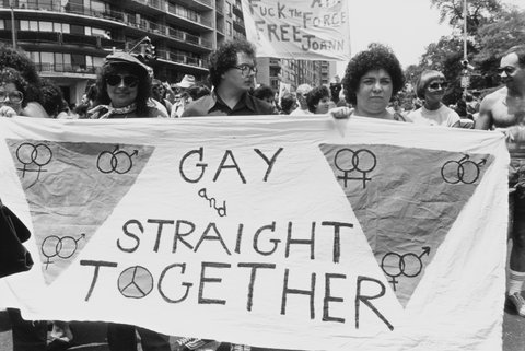A Gay Pride march in New York City, June 1983. (Photo by Barbara Alper/Getty Images)