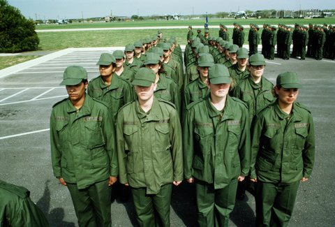 USA, Texas, Lackland Air Force Base, female recruits on parade